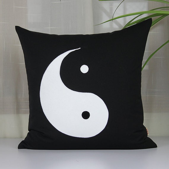 Yin Yang Symbol Pillowcases Black Cushion Coverstai By