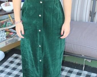 Vintage 70s Floor Length Green Velvet Skirt