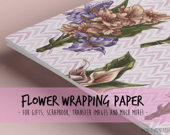 Vintage and romantic Flowers / Printable wrapping paper for Scrapbooking