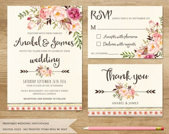 Floral Wedding Invitation. Printable Wedding Invitation. Rustic Invitation. Boho Wedding Invitation. Bohemia Wedding. Country Wedding Invite