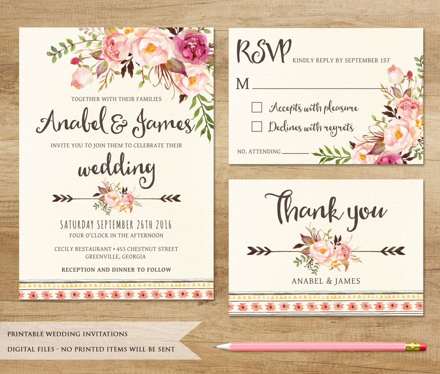 floral wedding invitation  printable wedding invitation