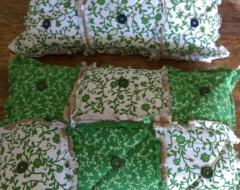 Two rag quilted toss pillows