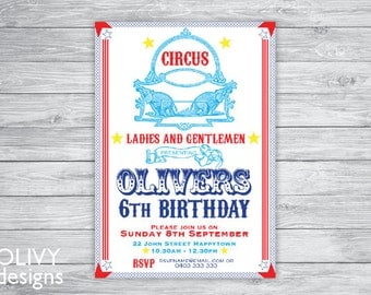 Circus kids party invitation