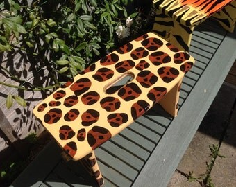 OOAK jaguar animal print painted wooden children's stool