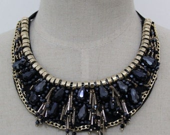 Collar Necklace -Navy - Detachable Collar Necklace -Statement Necklace
