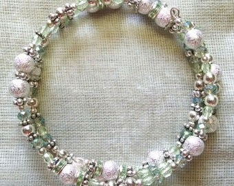 Pale Green and Silver Coil Bracelet