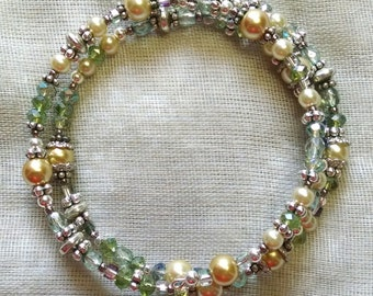 Pale Green and Ivory Coil Bracelet