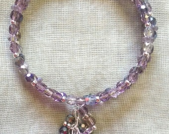 Silvery Purples Coil Bracelet