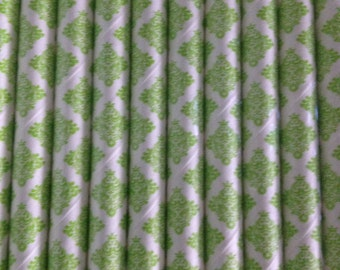 Light Green Damask Paper Straw (pack of 25)