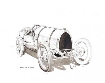 Old car original painting BUGATTI Type 13 Brescia watercolour on paper, classic car