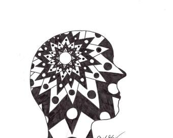 Pen Drawing, Geometric Head Shot