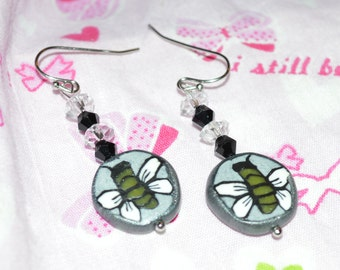 Bee earrings - polymer clay and czech glass beads