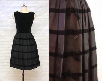Black on Black Velvet & Taffeta Bow Dress | vintage 1950s dress | 50s Special Occasion Attire