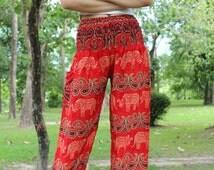 Festival Pants Yog Hippie Pants Boho Elephant Pants Red Women