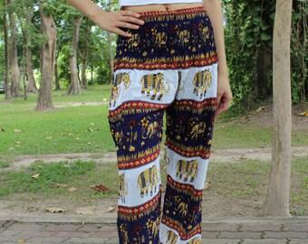 Long Pants Yoga pants Hippie Pants Boho Clothing Elephant Pants Blue Navy Women