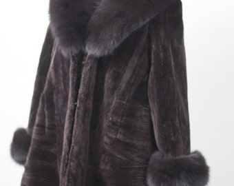 Luxury gift/ Sheared Brown Beaver Fur Coat / Fur jacket Swing Style/Wedding,or anniversary present