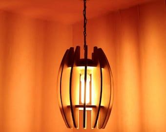 Wooden Ceiling Pendant Light Solid Lampshade Light Modern