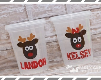 Reindeer Party Cups-Personalized Tumbler-ChristmasParty Cups-Christmas Party Cup-Child's Cup
