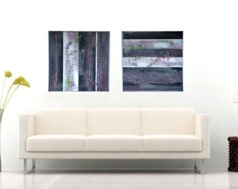 Abstract Acrylic Painting, Canvas Wall art, Original Hand Made,Grey STRIPED colors block, on canvas, modern art, Zhanna Ozolina