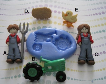 Farming Silicone Molds - Tractor Molds -  Hay Molds - Farmer Molds - Fondant Molds - Flexible  Molds - Cake Decorating Molds - Craft Molds