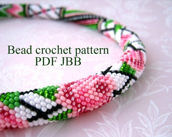 Bead crochet pattern PDF JBB tutorial Rose pattern Crochet rope scheme Floral pattern Rose flower pattern  DIY necklace Jewelry making