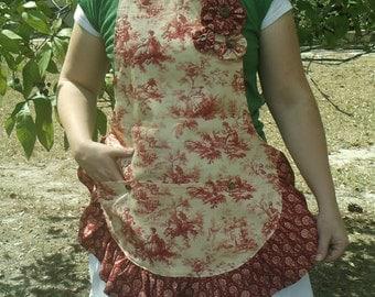 custom apron, apron with pockets, handmade red toile apron, full apron, womens apron