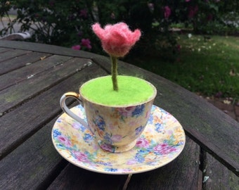 Teacup with needle-felted rose