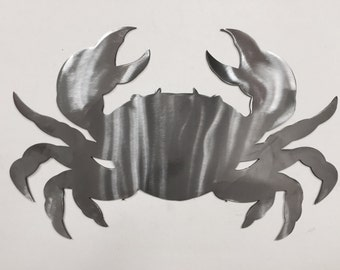 Crab Metal Wall Art  Ocean Nautical Marine Sea Life Beach House Home Decor