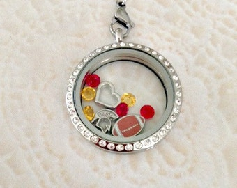 Large 30mm stainless steel memory locket Usc Trojans inspired