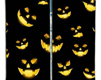 Scary Jack O Lanterns Halloween Curtains from Extremely Stoked Halloween Bedding Collection