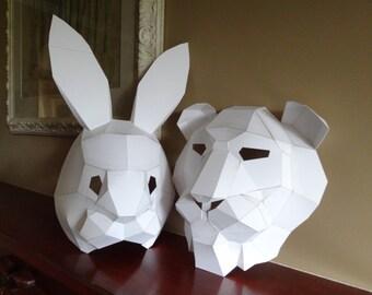 PDF Pattern, Make your own lion mask, rabbit mask, Instant download, DIY masks, Printable masks, Templates