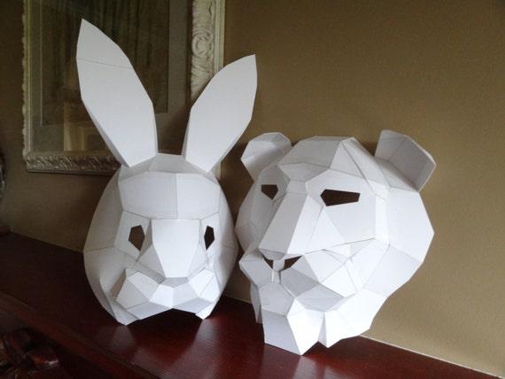 Pdf Pattern Make Your Own Lion Mask Rabbit Mask Instant
