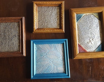 Hand-tooled, Matted and Framed Embossed Aluminum Wall Hanging/Picture