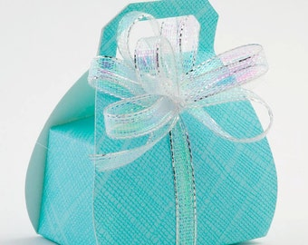 10 Celeste Blue Handbag Favour Boxes - Light Blue Diy Wedding Favours
