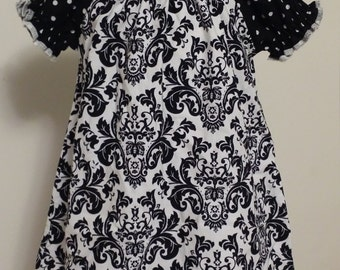 Black and White Peasant Dress