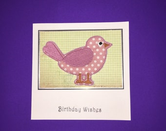 Pink Spotty Birdie Applique Birthday Card
