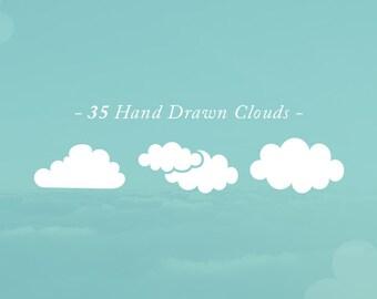 35 Hand Drawn Vector Sky Clouds Clip Art