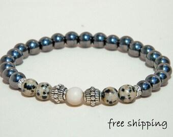Hematite bracelet,Dalmatian Jasper bracelet,Fosil bracelet,Stretch bracelet,Gemstone bracelet,Energy bracelet,Yoga bracelet