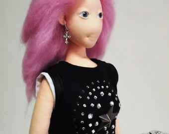 Art Doll, ooak doll, fabric doll, Rag Doll,textile doll,handmade doll, Cloth doll,home decor, collectible doll, decorative doll, lazyncrazy