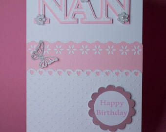 Handmade pretty pink layered edges Birthday card