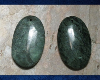 Marble, Green - 2 Smooth flat-back oval.  Large 32x44mm stone focal beads. #MARB-031