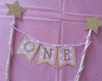 Pink and Gold Cake Topper, Birthday cake topper, Cake Bunting, First Birthday, Birthday, Cake Smash, Birthday Party, Cake Decor, Cake Banner