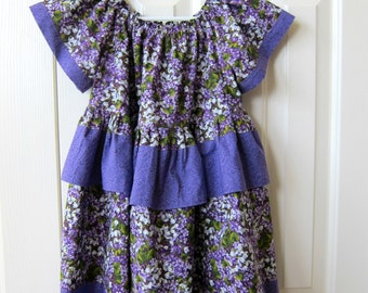Size 3 - Purple floral dress w/ruffles