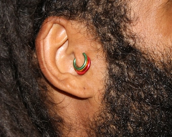 Jamaican Rasta Fake Cartilage Earrings Cuffs, PKG of 3, Available in a Rainbow of Colors Comes in Pkg of 3