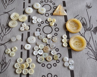 Assorted Vintage Pearlescent Buttons - 59 pieces in total
