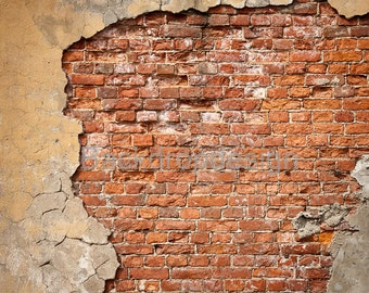 Red Brick Wall Backdrop - rustic broken brick wall - Printed Fabric Photography Background G0072