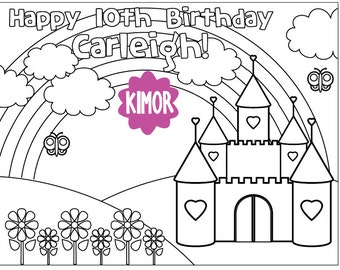 Printable Castle Coloring Sheet for a Birthday