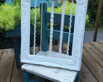 Bow holder frame with handmade satin flowers 11x14/Custom made-other colors available