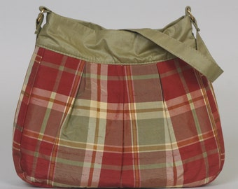 Shoulder Purse/Bag: Rust/green/gold plaid silk
