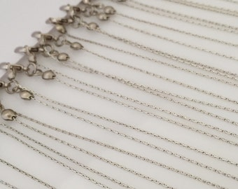 12 pcs Silver tone Snake Thin Chain 50 cm Necklace 1 mm Thin Chain , With Lobster Clasp